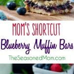 a collage image of blueberry muffin bars