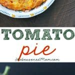 A collage image of a tomato pie