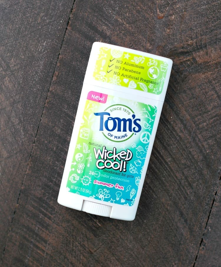 Toms of Maine Deodorant for girls on a wooden surface