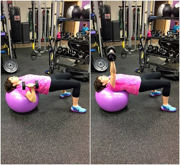 dumbell press on stability ball