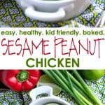 A collage image of sesame peanut chicken