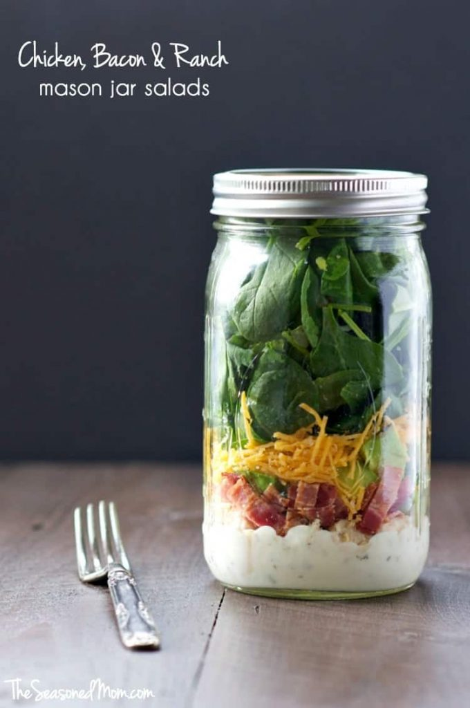 Chicken Bacon and Ranch Mason Jar Salads