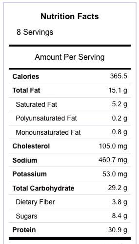 Chicken Fajita Burger Nutrition Information
