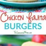 A collage image of a chicken fajita burger