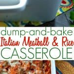 A collage image of a meatball and rice casserole