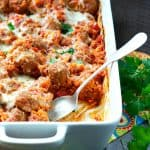 Dump and Bake Italian Meatball and Rice Casserole