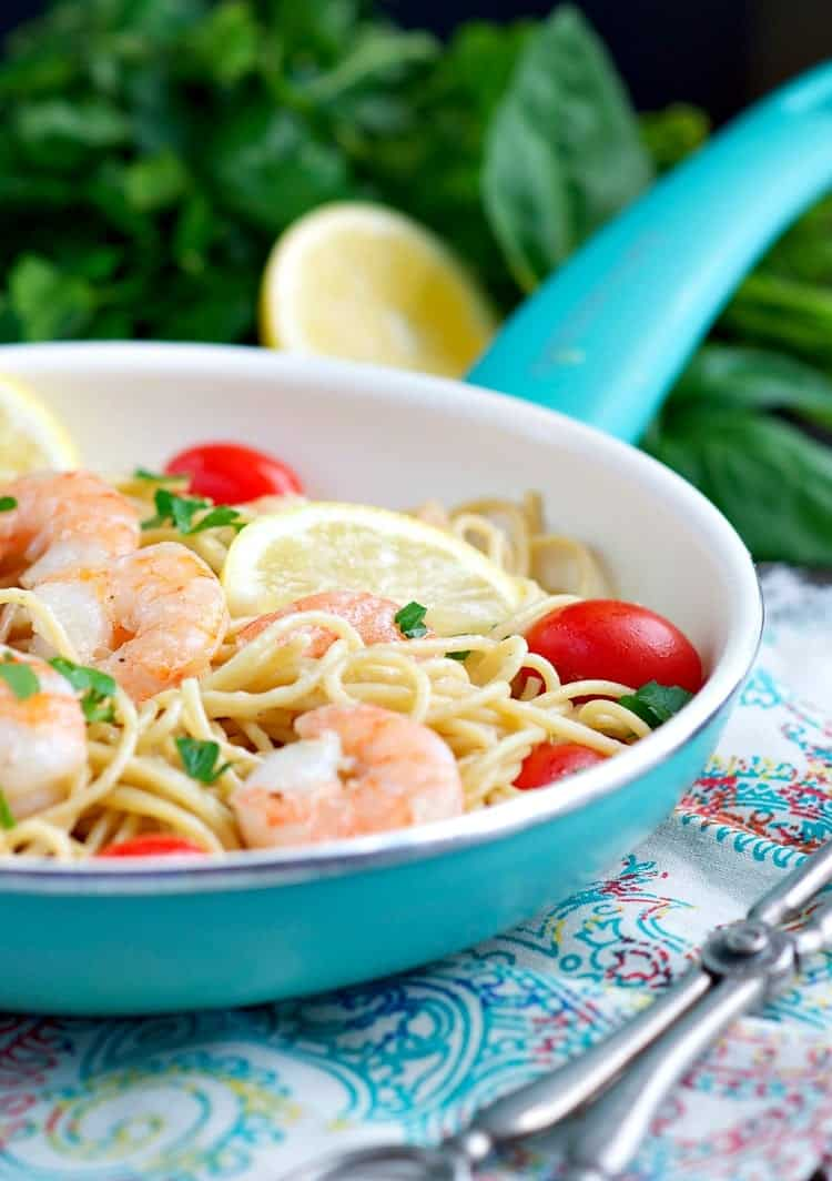 This easy Garlic and Herb Shrimp Pasta is full of fresh and real food ingredients for a simple and healthy dinner that's ready in less than 30 minutes!