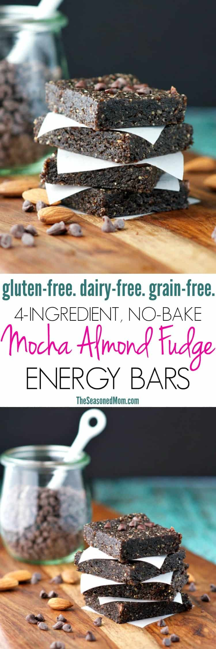 You only need 4 ingredients and 5 minutes for these healthy No-Bake Mocha Almond Fudge Energy Bars! Believe it or not, the rich, chocolatey treats are gluten-free, dairy-free, and grain-free...making them a clean eating snack to grab-and-go for instant fuel when you need it most!