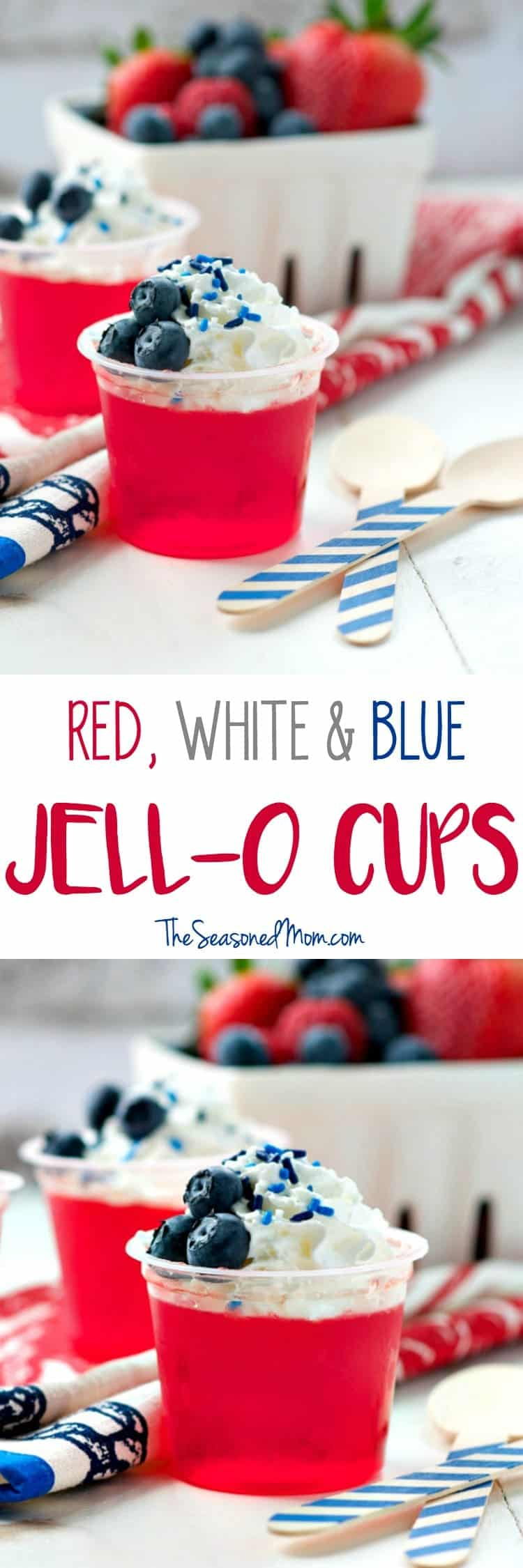You only need 3 ingredients and less than 1 minute to prepare these easy no-bake Red, White and Blue Jell-O Cups! They are the perfect kid-friendly patriotic snack or dessert for Fourth of July parties and other festive occasions!