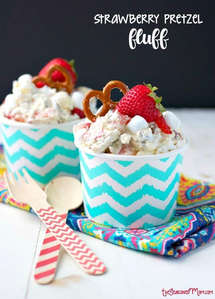 This salty, sweet, creamy, and crunchy Strawberry Pretzel Fluff is sure to be a hit at all of your summer parties! It's an easy 10-minute dessert salad that disappears FAST at any potluck, picnic, cookout, or other festive gathering!