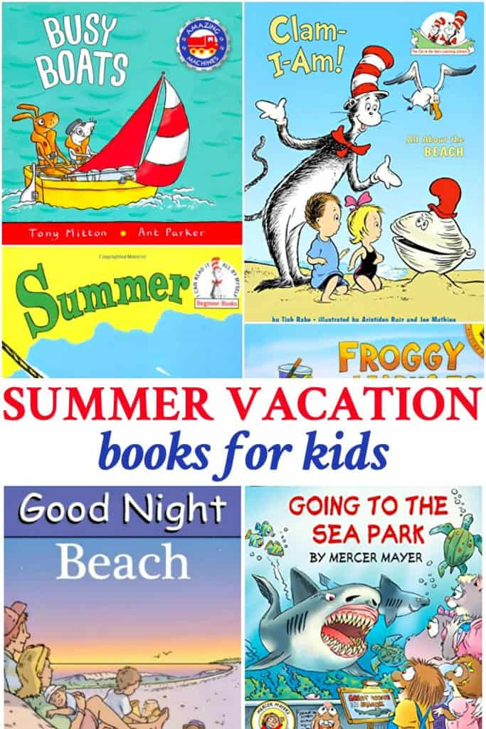 Long collage of best summer vacation books for young kids