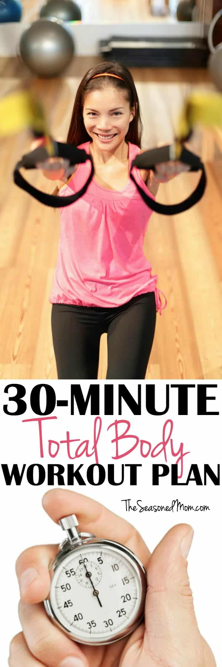 This 30-Minute Total Body Workout Plan includes strength and cardio for an efficient exercise routine that will make you WORK!
