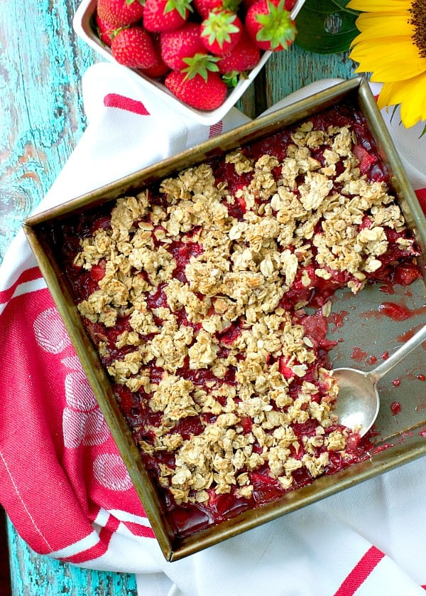 Overhead shot of dish of clean eating strawberry crisp