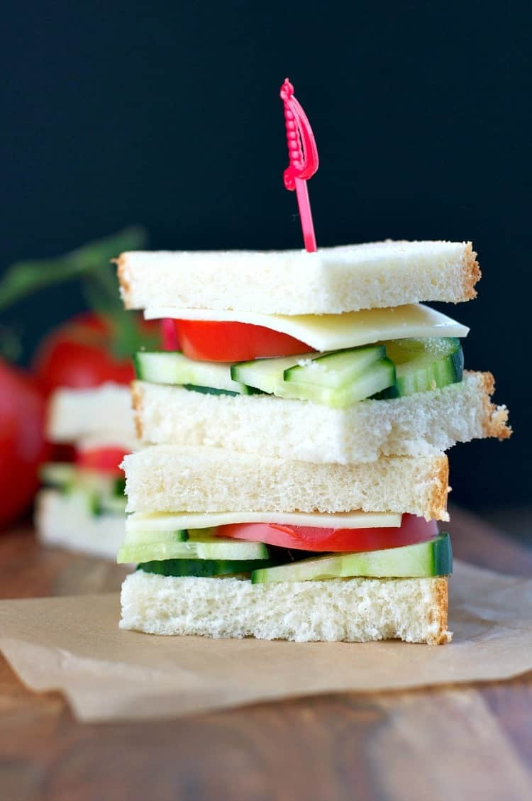 Two picnic sandwiches stacked on top of each other