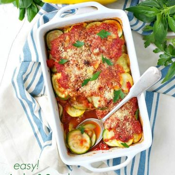 Squash and zucchini gratin in a baking dish