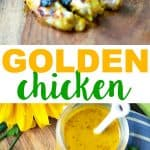 A collage image of golden chicken