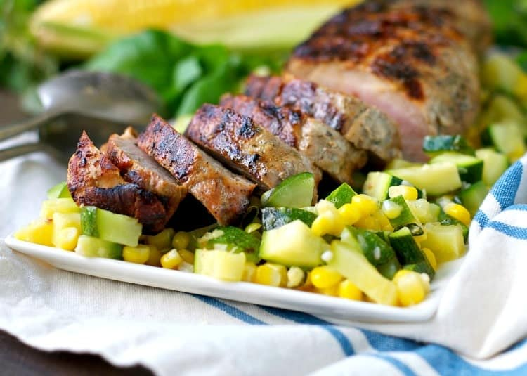 Grilled Garlic and Herb Pork Tenderloin with Zucchini and Corn 12