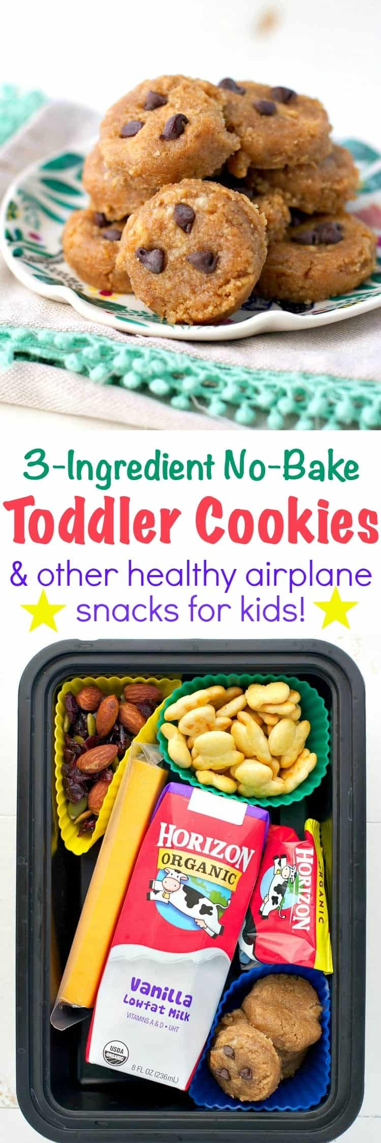 With just graham crackers, banana, and peanut butter, these 3-Ingredient No Bake Toddler Cookies are a perfect make-ahead option for lunch boxes, picnics, and summer travel.