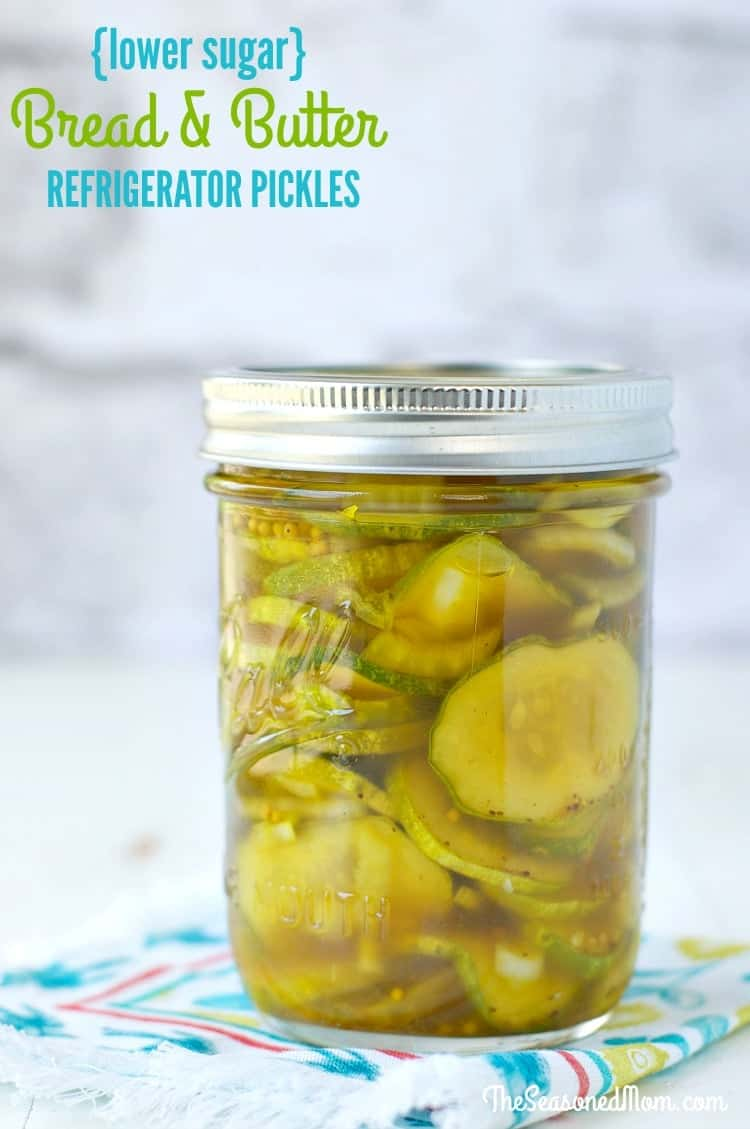 There's no fancy canning necessary! With just a few minutes of hands-on time, you can have fresh, sweet, and tangy Lower Sugar Bread and Butter Refrigerator Pickles ready to enjoy. This clean eating snack is perfect for adding to salads, stuffing inside sandwiches, or enjoying on its own!