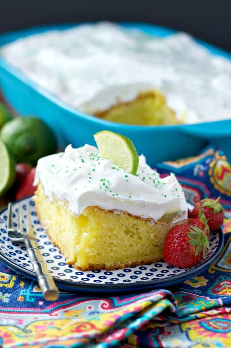 An easy and moist Margarita Poke Cake that's perfect for summer!