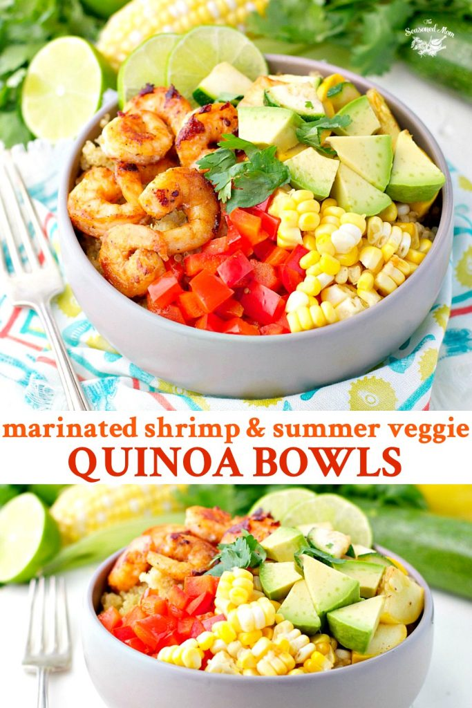 Long collage of Marinated Shrimp and Summer Vegetable Quinoa Bowls