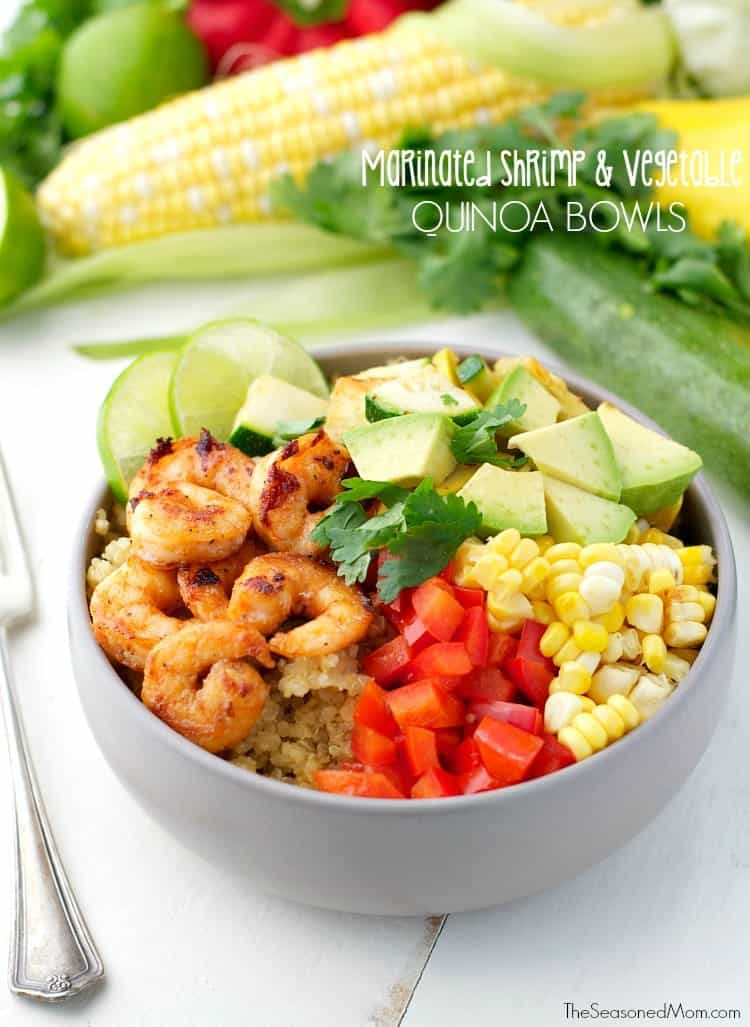 Marinated Shrimp and Summer Vegetable Quinoa Bowls TEXT