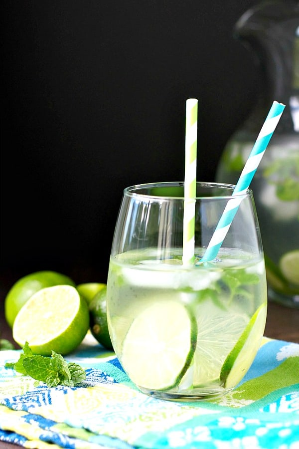 Glass of infused detox water with mint and lime