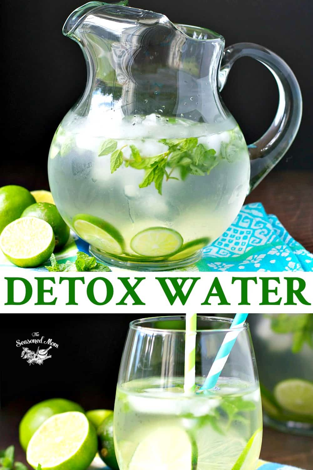 Long collage of mojito infused detox water