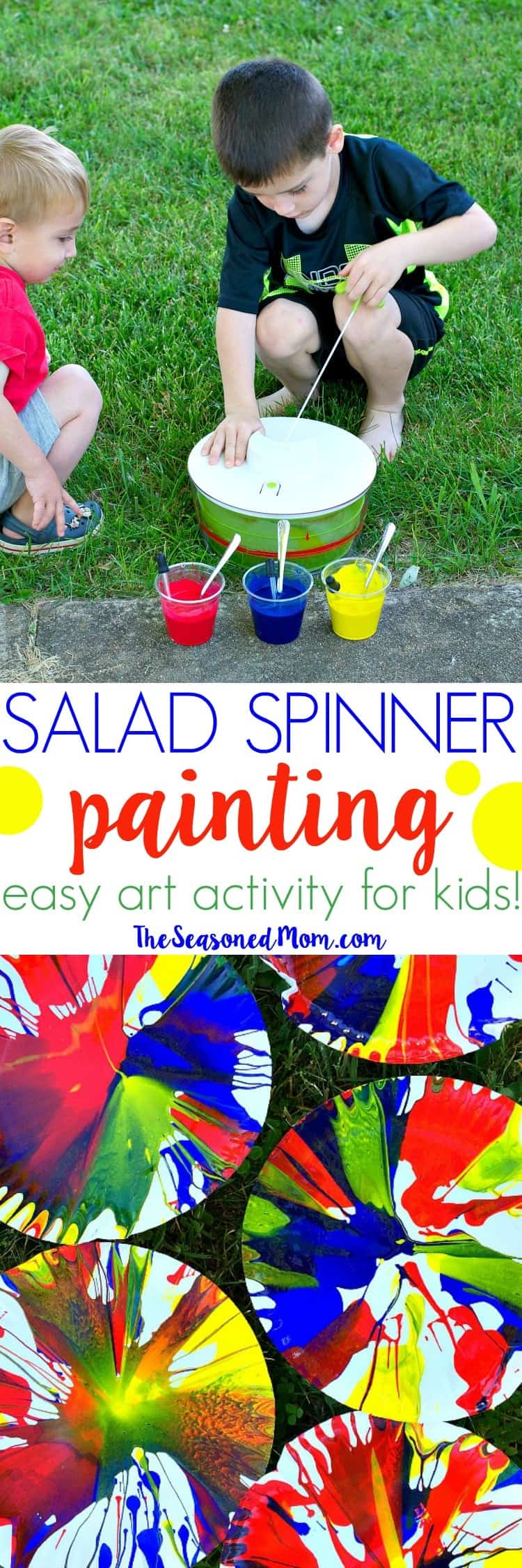 Easy Art Activity for Kids: Salad Spinner Painting - The Seasoned Mom