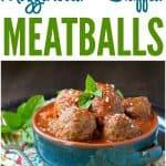 A collage image of mozzarella stuffed meatballs