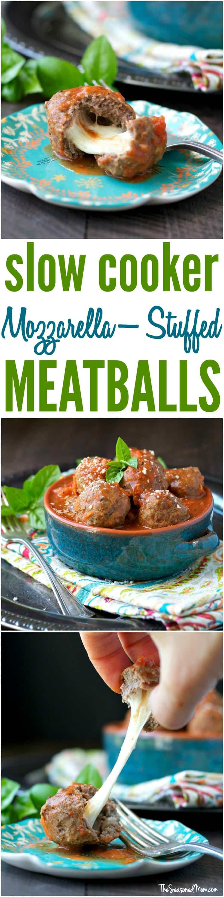 for these easy and healthy Slow Cooker Mozzarella-Stuffed Meatballs ...
