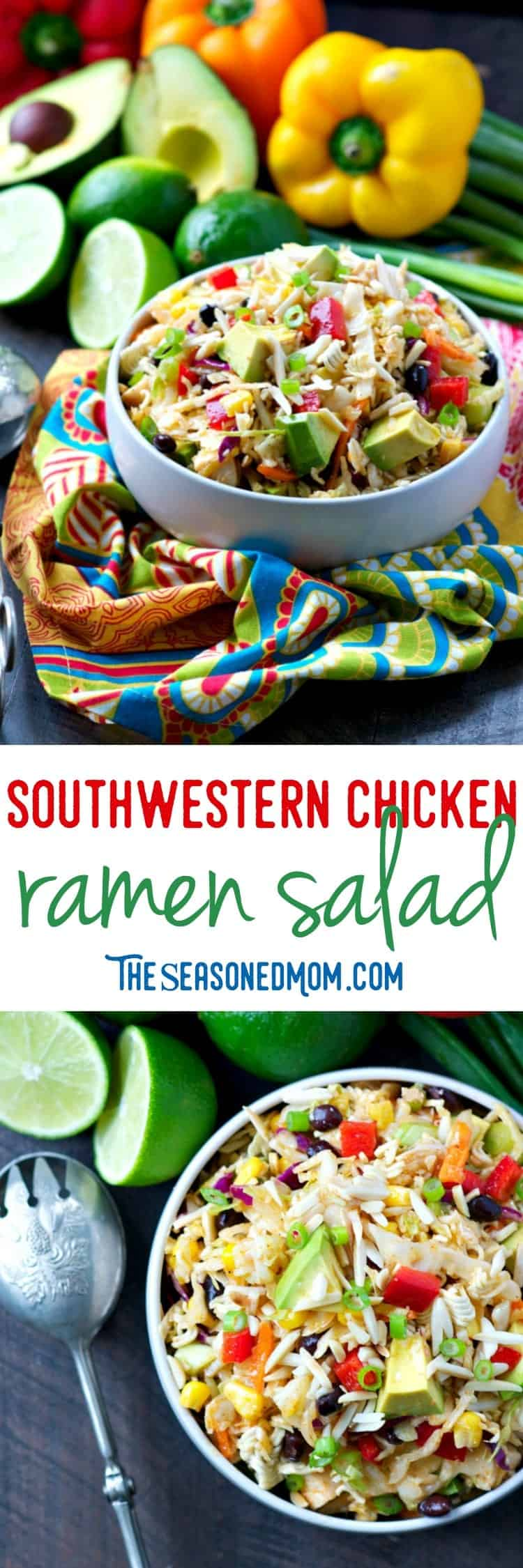 This light, healthy, and fresh Southwestern Chicken Ramen Salad is an easy side dish for cookouts or picnics, a simple make-ahead dinner, or an easy lunch to keep on hand. Loaded with veggies and dressed in a homemade Southwestern Lime Vinaigrette, it's a flavorful dish that's full of satisfying tastes and textures!
