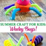 Long collage of Wacky Bugs Summer Craft for Kids