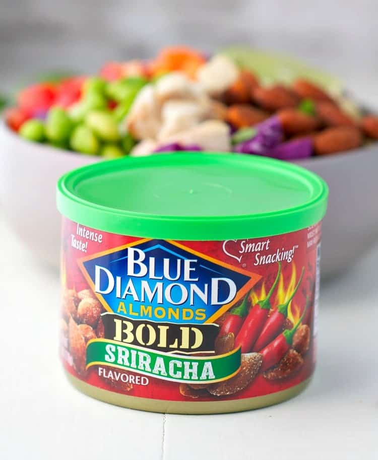 A side shot of blue diamond almonds in bold sriracha flavor