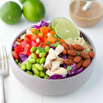 A thai chicken and quinoa salad in a bowl