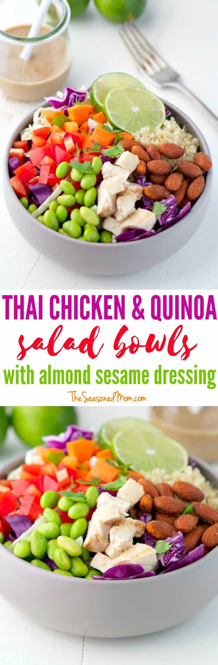 These healthy, high-protein Thai Chicken and Quinoa Salad Bowls are ...