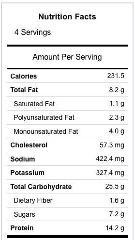 1 Skillet Peach Glazed Chicken Nutrition Information