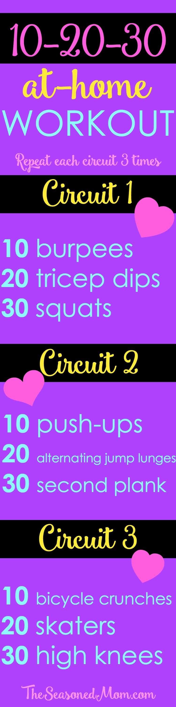 This 10-20-30 At-Home Workout does not require any equipment, takes only 20 minutes, and includes both cardio and strength training for a full body sweat!
