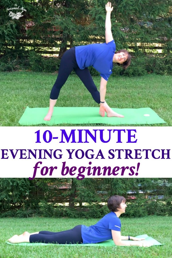 Long collage of 10 Minute Evening Yoga Stretch Workout for Beginners