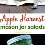 A collage image of mason jar salads