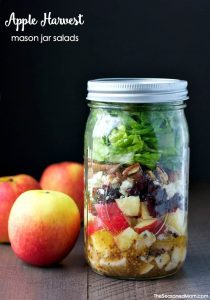 With layers of chicken, apples, cranberries, blue cheese, and pecans, these Apple Harvest Mason Jar Salads with Cider Vinaigrette are an easy and healthy lunch-on-the-go. Meal Prep | Salad Recipes | Apple Recipes | Lunch Ideas for Adults