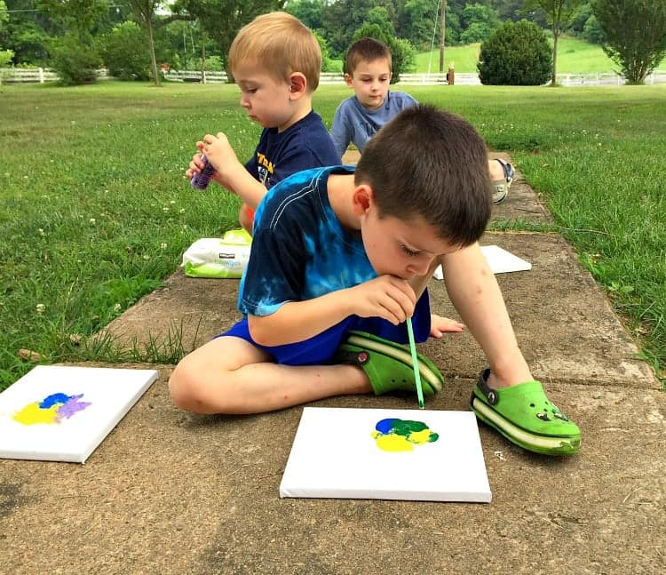 Blow Paint Monsters are an easy art activity for kids this summer!