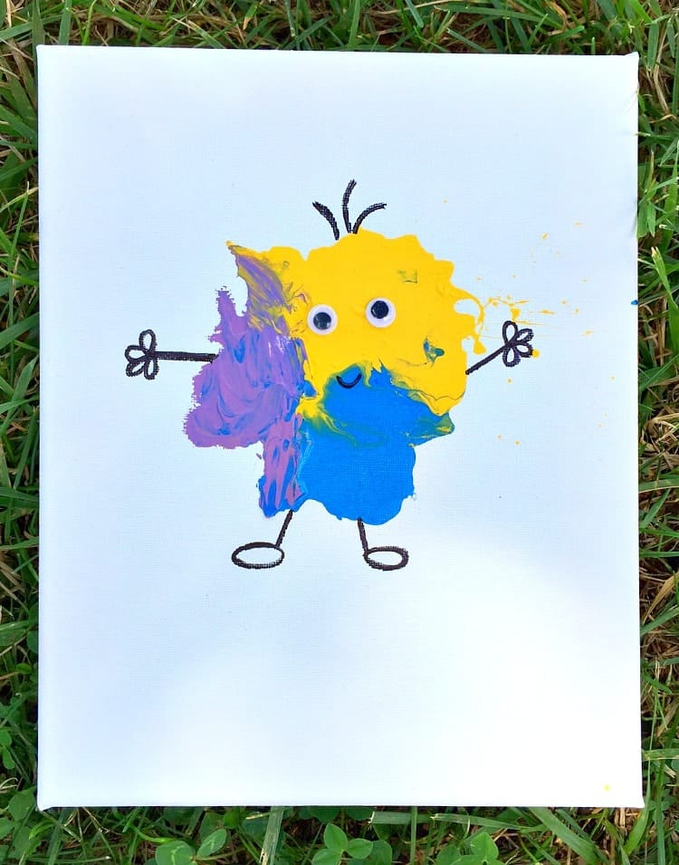 Blow Paint Monsters for an easy art activity for kids!