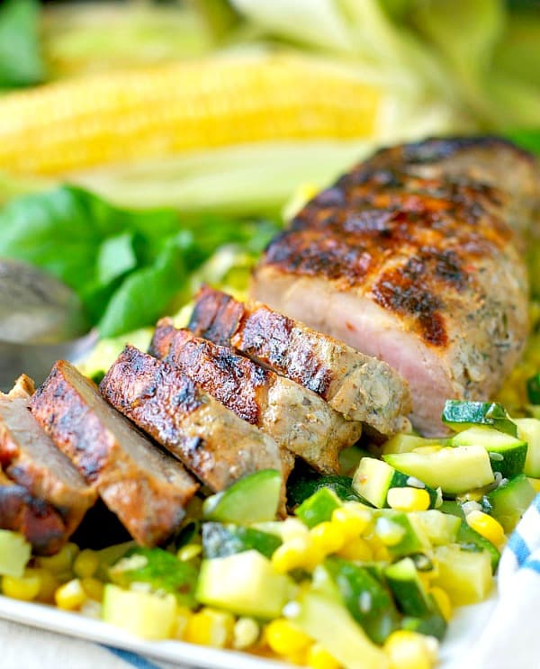 Garlic and Herb Grilled Pork Tenderloin with zucchini and corn