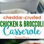 A collage image of a chicken and broccoli casserole