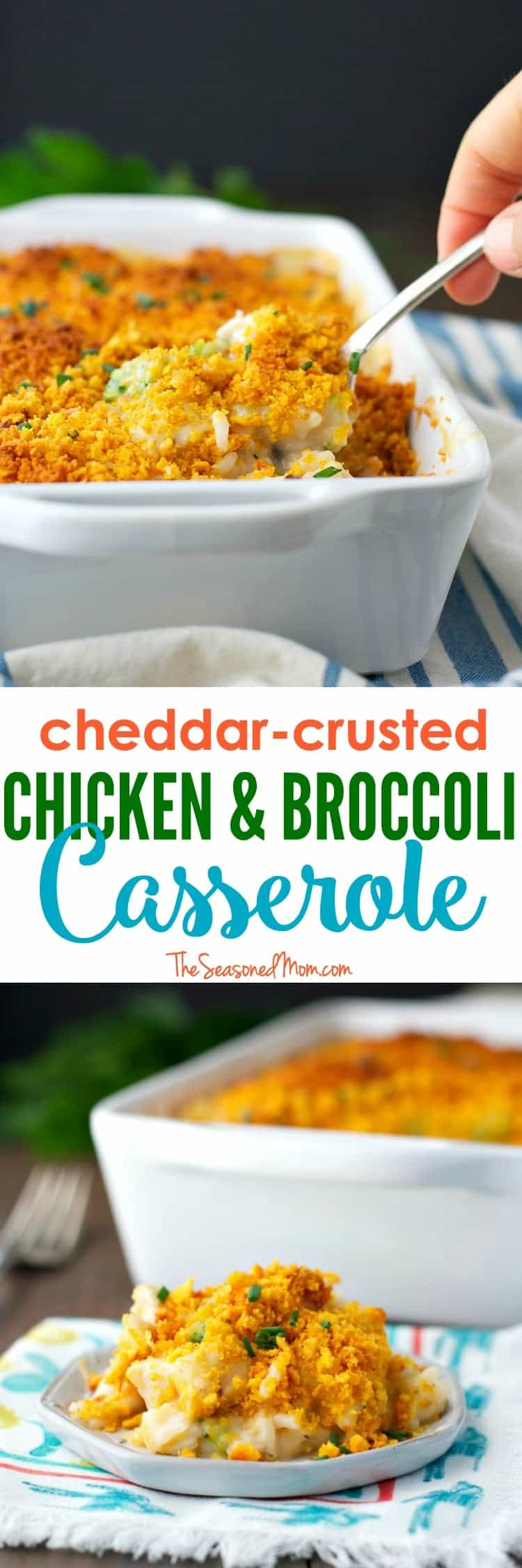 This Cheddar Crusted Chicken and Broccoli Casserole is an easy and wholesome weeknight dinner that's perfect for picky little eaters! Just in time for back-to-school season and cool fall evenings, it's a great make-ahead option for busy days!