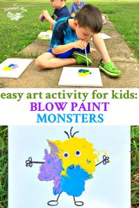 Long collage of easy art activity for kids called blow paint monsters