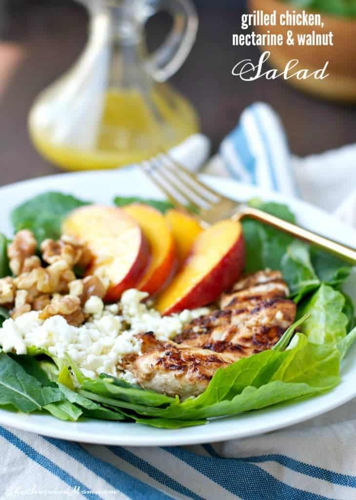 Grilled Chicken, Nectarine and Walnut Salad