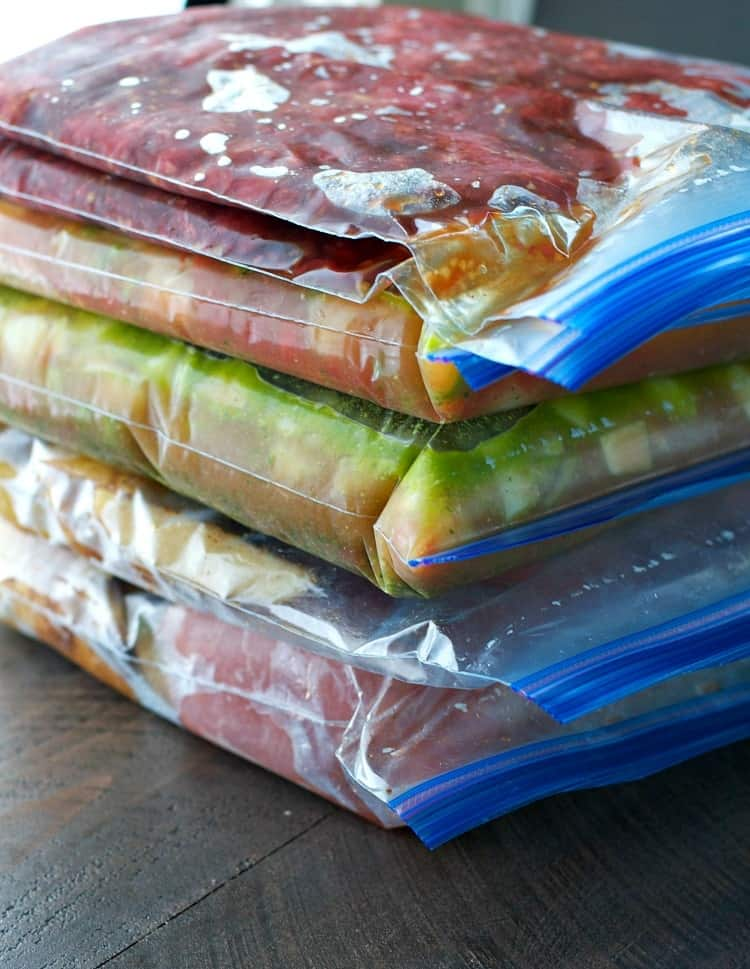 6 bags of stacked healthy slow cooker freezer meals