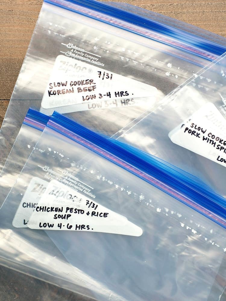 Labeled freezer bags for 6 Healthy Slow Cooker Freezer Meals in 45 Minutes!